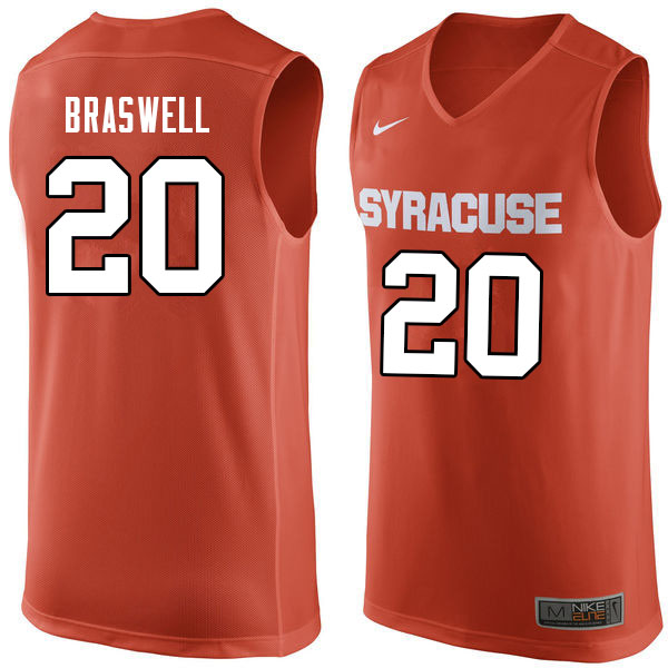 Men #20 Robert Braswell Syracuse Orange College Basketball Jerseys Sale-Orange
