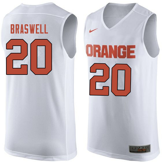 Men #20 Robert Braswell Syracuse White College Basketball Jerseys Sale-White