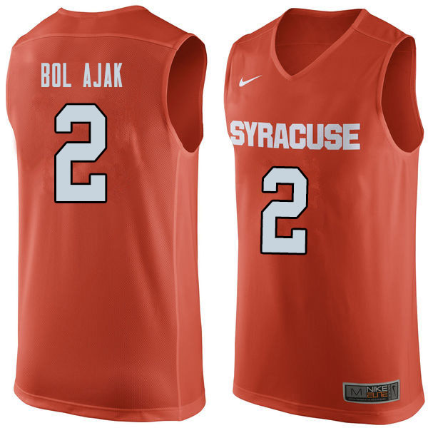 Men #2 John Bol Ajak Syracuse Orange College Basketball Jerseys Sale-Orange