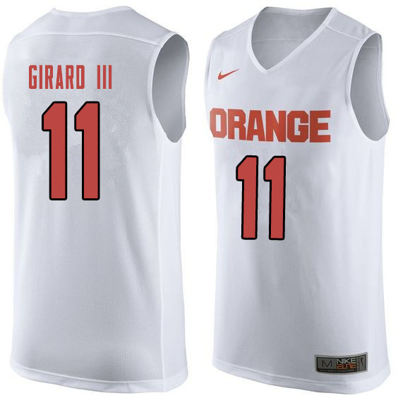 Men #11 Joseph Girard III Syracuse White College Basketball Jerseys Sale-Orange