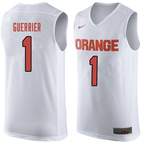 Men #1 Quincy Guerrier Syracuse White College Basketball Jerseys Sale-Orange