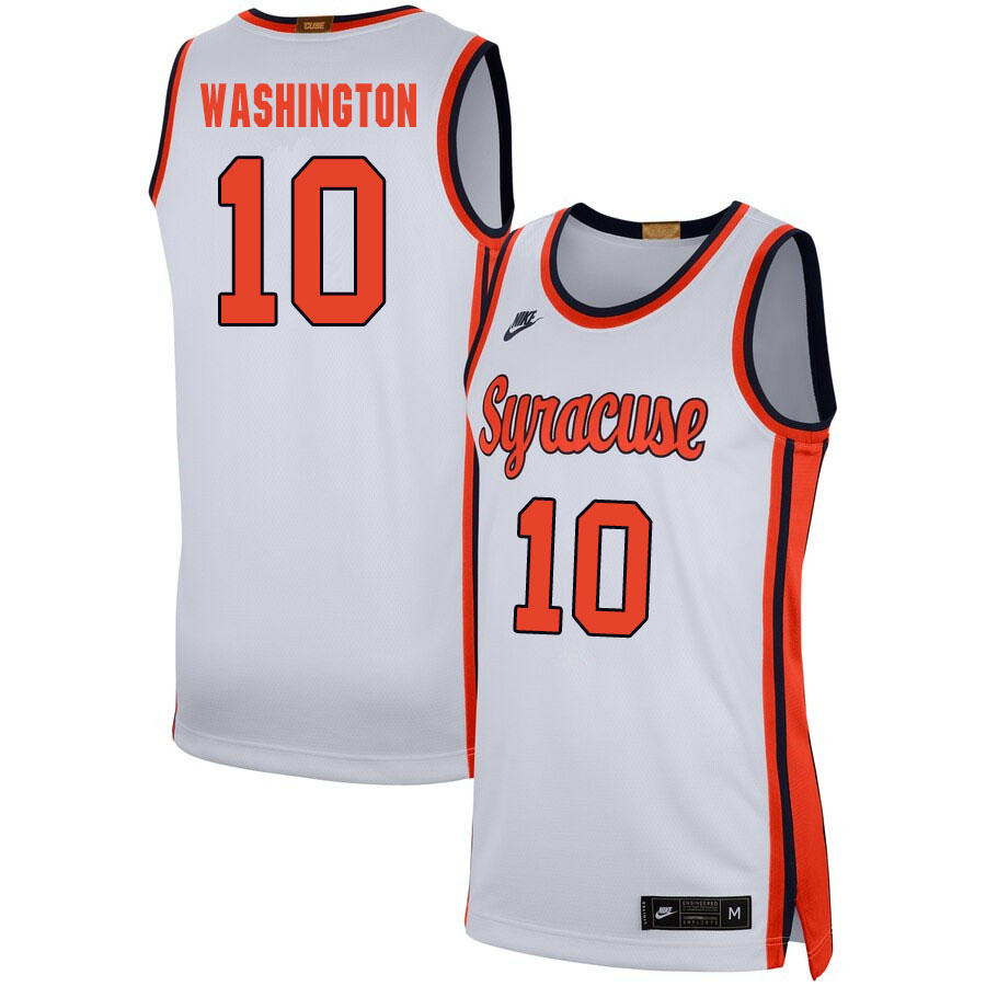 2020 Men #10 Howard Washington Syracuse Orange College Basketball Jerseys Sale-White