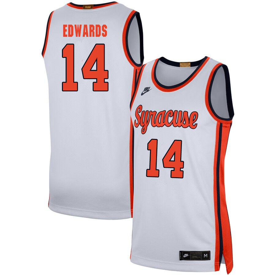 2020 Men #14 Jesse Edwards Syracuse Orange College Basketball Jerseys Sale-White