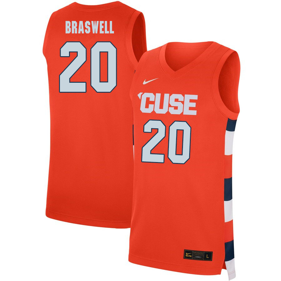 2020 Men #20 Robert Braswell Syracuse Orange College Basketball Jerseys Sale-Orange