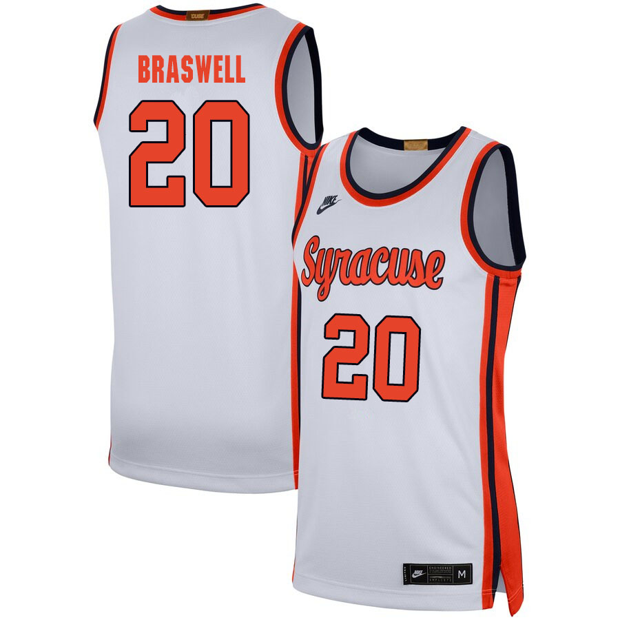 2020 Men #20 Robert Braswell Syracuse Orange College Basketball Jerseys Sale-White