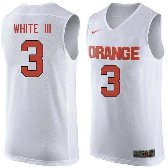Men #3 Andrew White III Syracuse White College Basketball Jerseys Sale-White