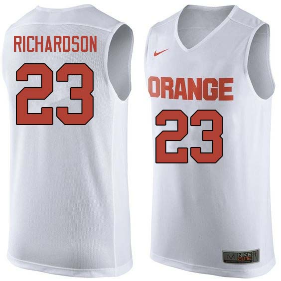 Men #23 Malachi Richardson Syracuse White College Basketball Jerseys Sale-White