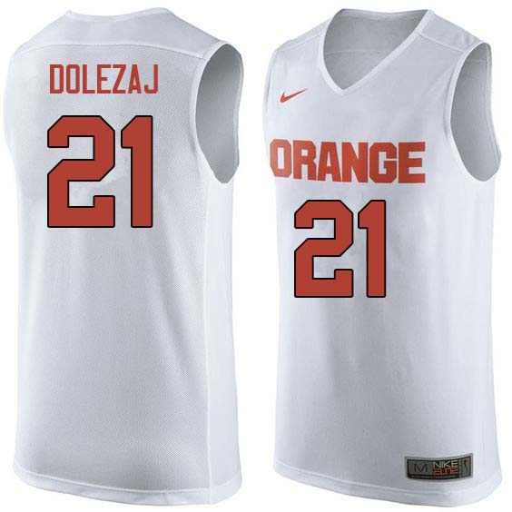 Men #21 Marek Dolezaj Syracuse White College Basketball Jerseys Sale-White