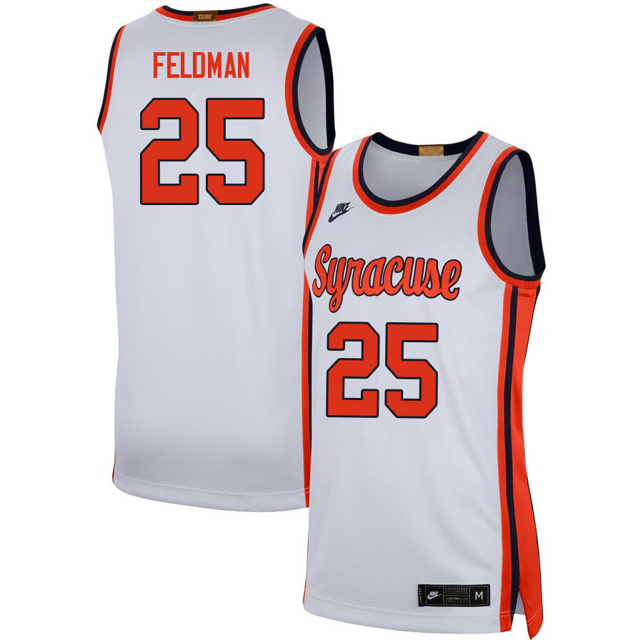 Men #25 Shane Feldman Syracuse White College Basketball Jerseys Sale-White