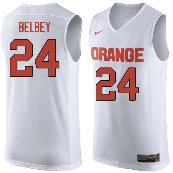 Men #24 Shaun Belbey Syracuse White College Basketball Jerseys Sale-White