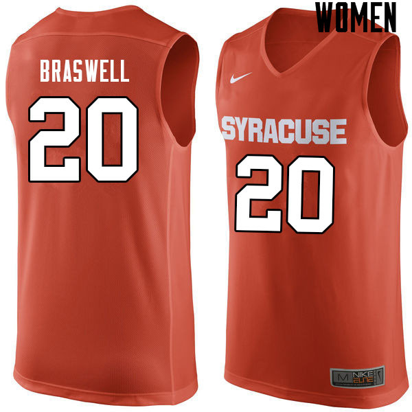 Women #20 Robert Braswell Syracuse Orange College Basketball Jerseys Sale-Orange