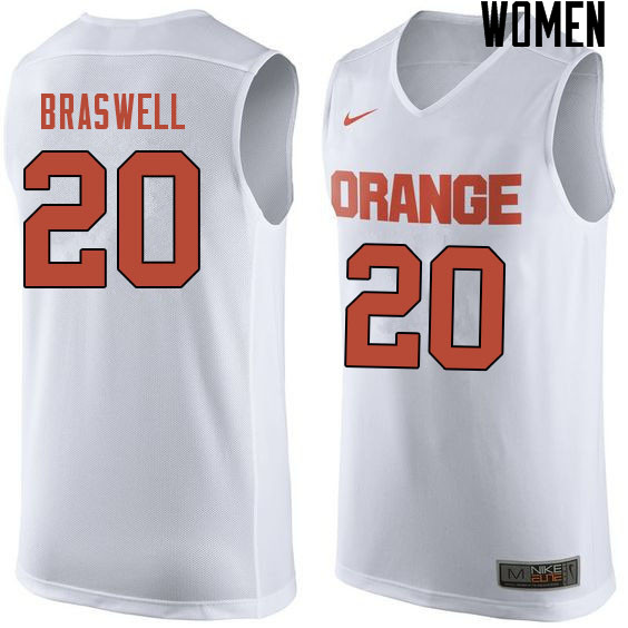 Women #20 Robert Braswell Syracuse White College Basketball Jerseys Sale-White