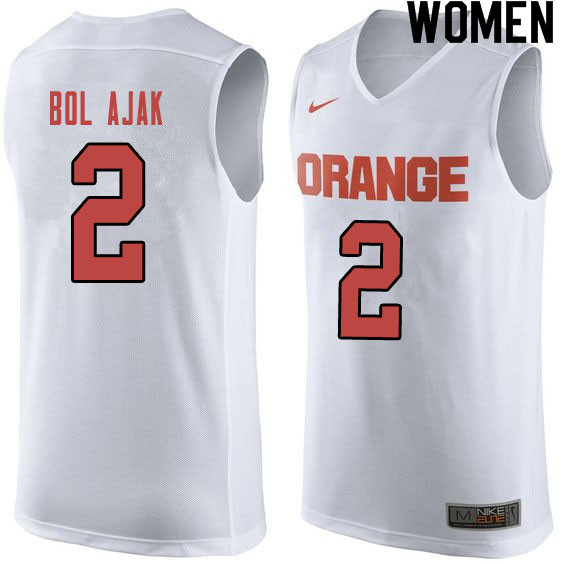 Women #2 John Bol Ajak Syracuse White College Basketball Jerseys Sale-Orange