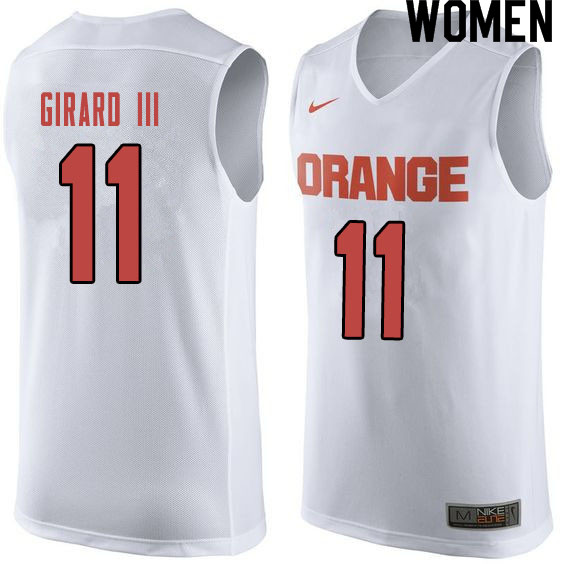Women #11 Joseph Girard III Syracuse White College Basketball Jerseys Sale-Orange