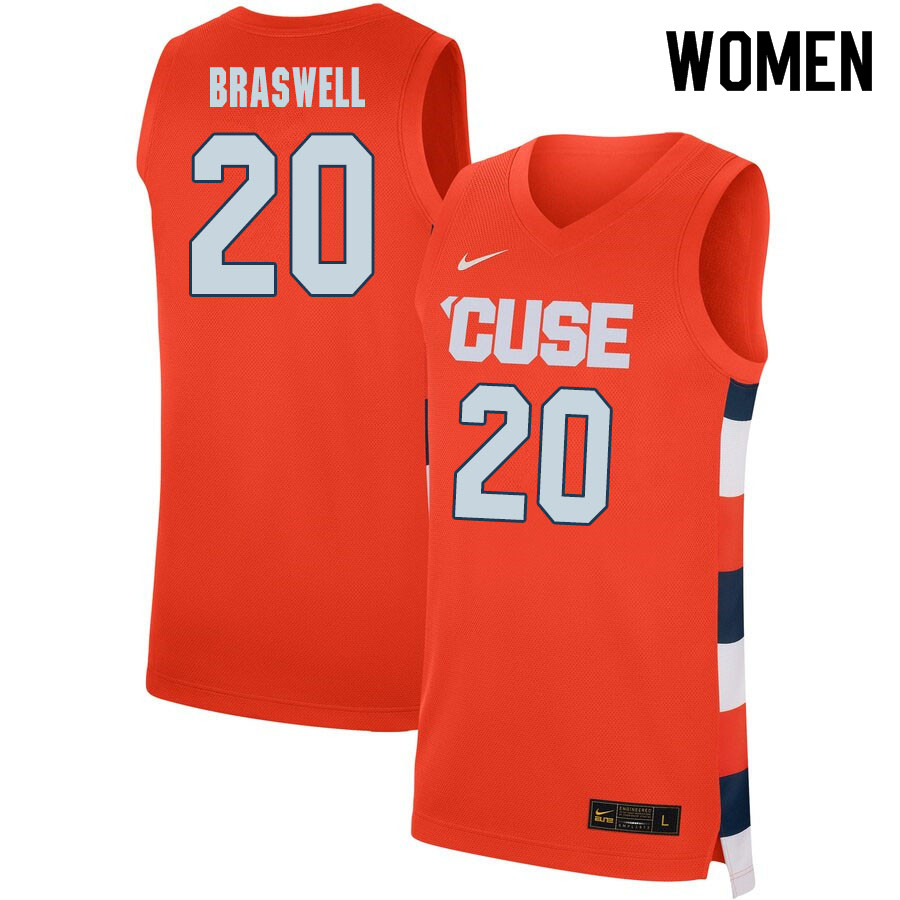 2020 Women #20 Robert Braswell Syracuse Orange College Basketball Jerseys Sale-Orange