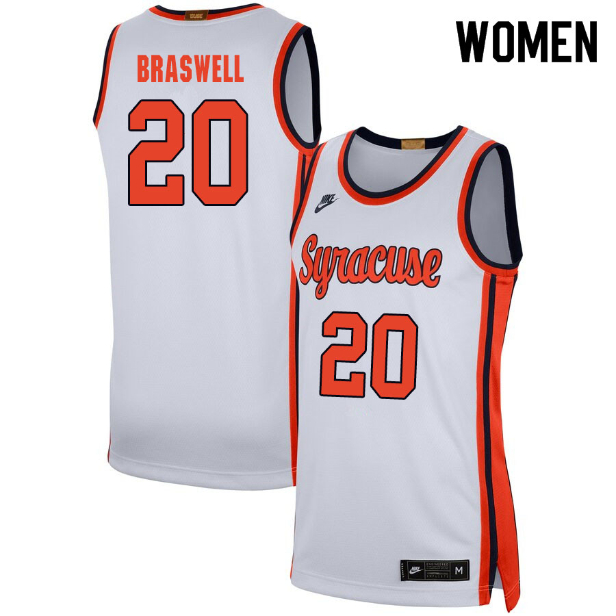 2020 Women #20 Robert Braswell Syracuse Orange College Basketball Jerseys Sale-White