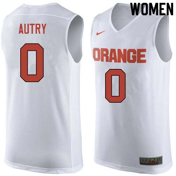 Women #0 Adrian Autry Syracuse White College Basketball Jerseys Sale-White
