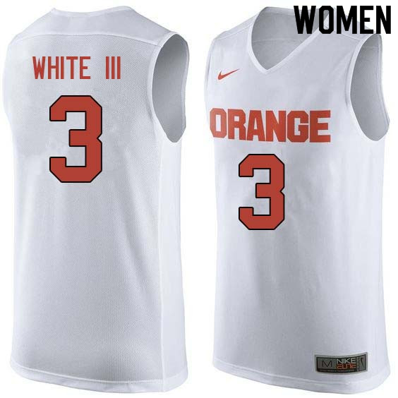 Women #3 Andrew White III Syracuse White College Basketball Jerseys Sale-White