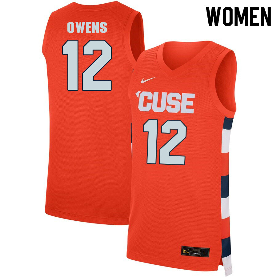 Women #12 Chaz Owens Syracuse Orange College Basketball Jerseys Sale-Orange