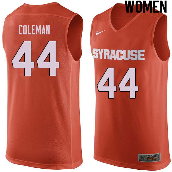 Women #44 Derrick Coleman Syracuse Orange College Basketball Jerseys Sale-Orange