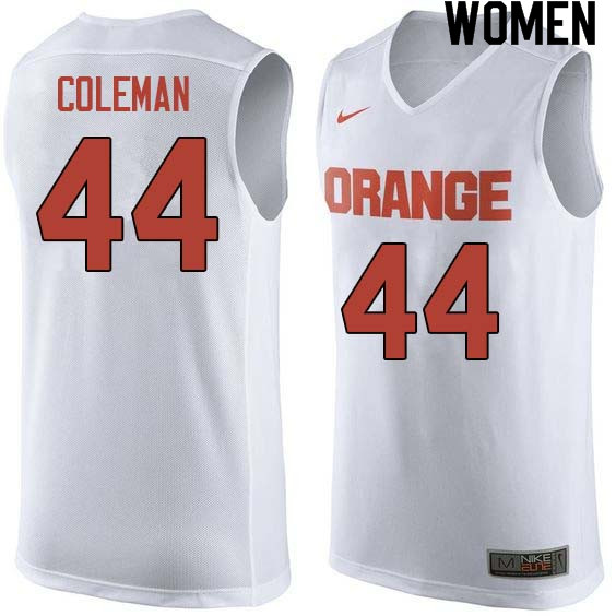Women #44 Derrick Coleman Syracuse White College Basketball Jerseys Sale-White