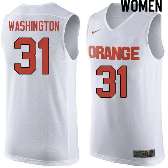 Women #31 Dwyane Washington Syracuse White College Basketball Jerseys Sale-White