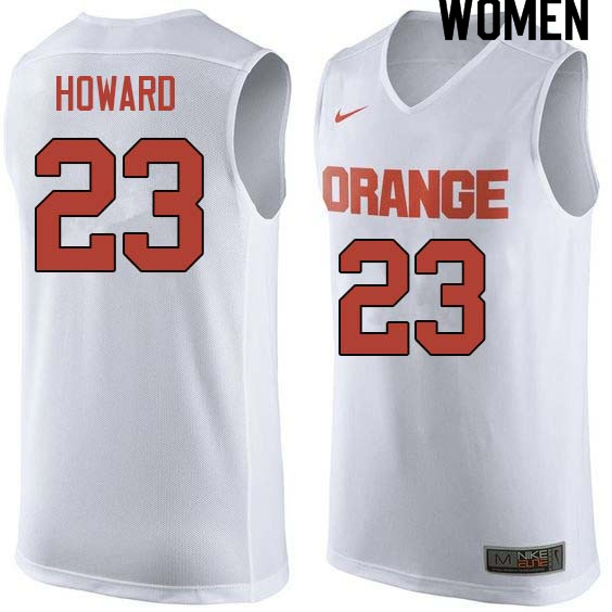 Women #23 Frank Howard Syracuse White College Basketball Jerseys Sale-White