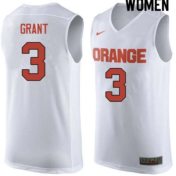 Women #3 Jerami Grant Syracuse White College Basketball Jerseys Sale-White