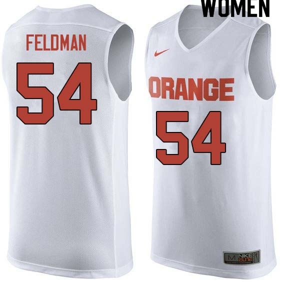 Women #54 Ky Feldman Syracuse White College Basketball Jerseys Sale-White
