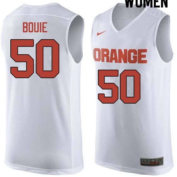 Women #50 Roosevelt Bouie Syracuse White College Basketball Jerseys Sale-White