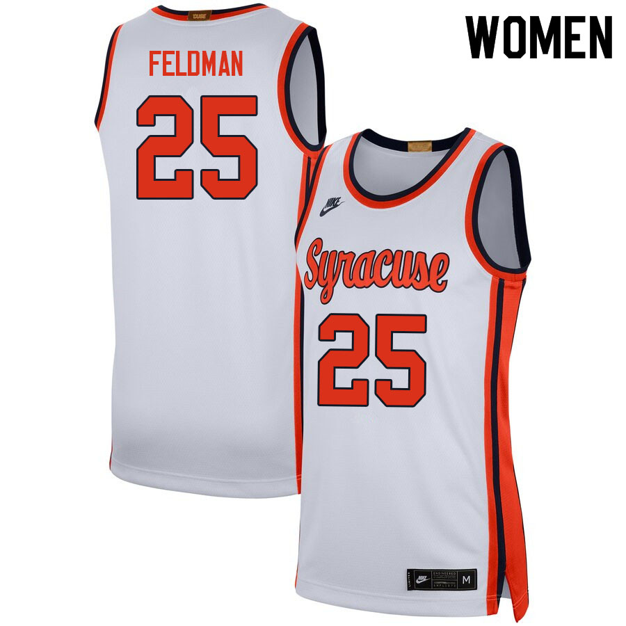 Women #25 Shane Feldman Syracuse White College Basketball Jerseys Sale-White
