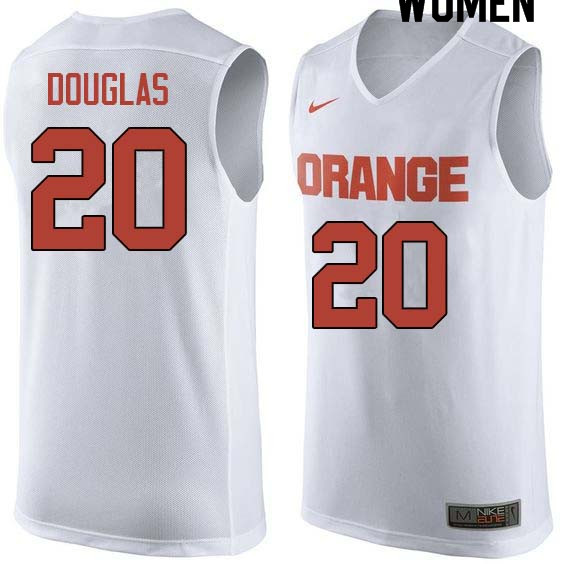 Women #20 Sherman Douglas Syracuse White College Basketball Jerseys Sale-White