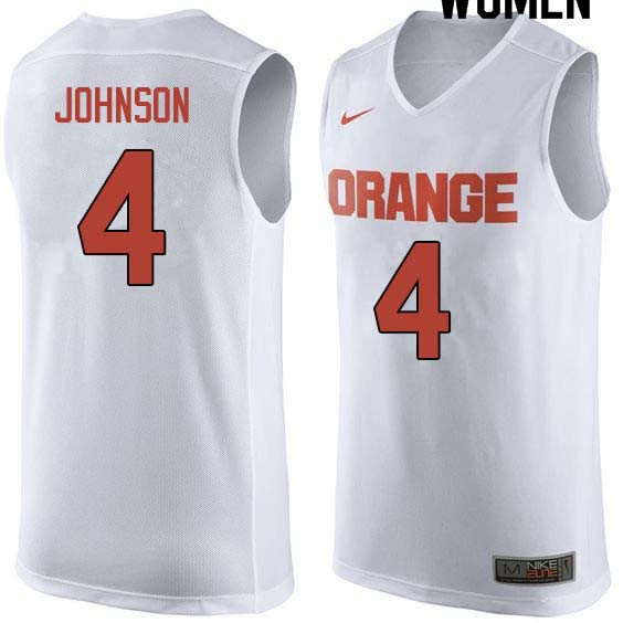 Women #4 Wesley Johnson Syracuse White College Basketball Jerseys Sale-White