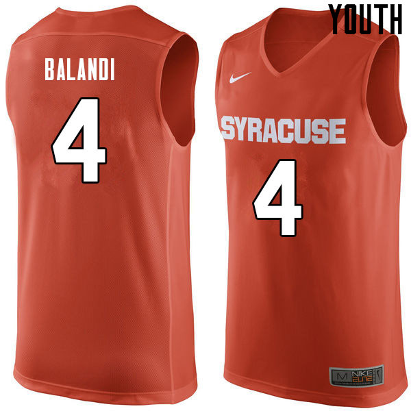 Youth #4 Antonio Balandi Syracuse Orange College Basketball Jerseys Sale-Orange