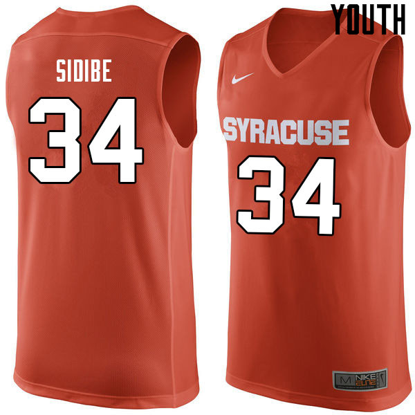 Youth #34 Bourama Sidibe Syracuse Orange College Basketball Jerseys Sale-Orange