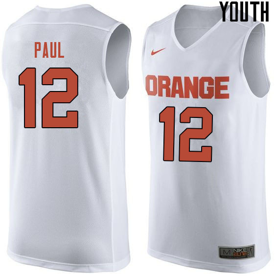 Youth #12 Brendan Paul Syracuse White College Basketball Jerseys Sale-White