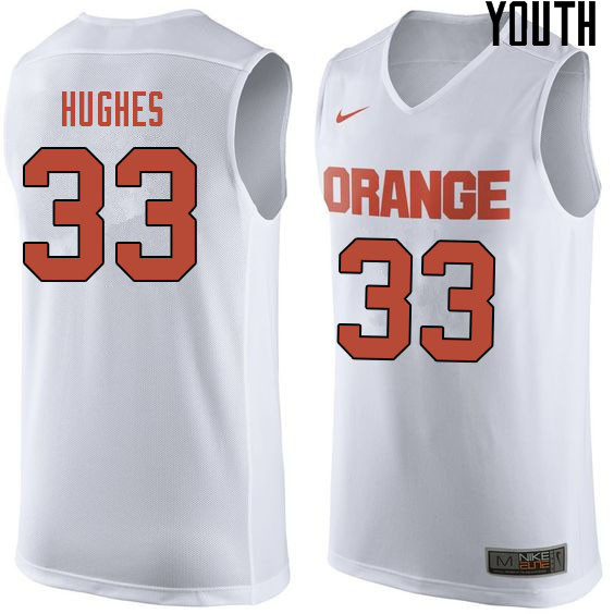 Youth #33 Elijah Hughes Syracuse White College Basketball Jerseys Sale-White