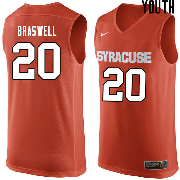 Youth #20 Robert Braswell Syracuse Orange College Basketball Jerseys Sale-Orange