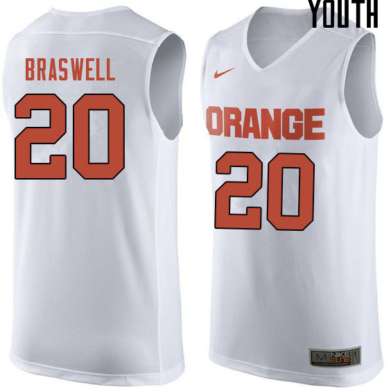 Youth #20 Robert Braswell Syracuse White College Basketball Jerseys Sale-White