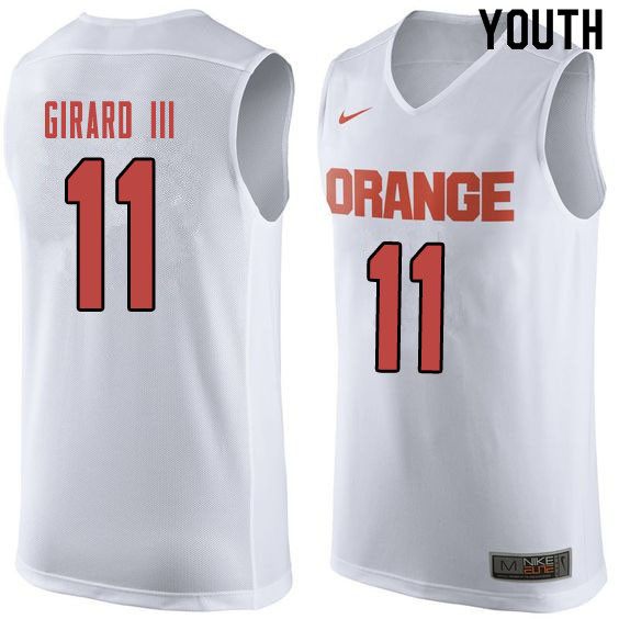 Youth #11 Joseph Girard III Syracuse White College Basketball Jerseys Sale-Orange
