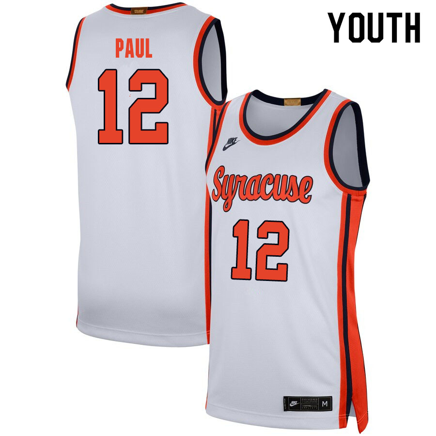 2020 Youth #12 Brendan Paul Syracuse Orange College Basketball Jerseys Sale-White