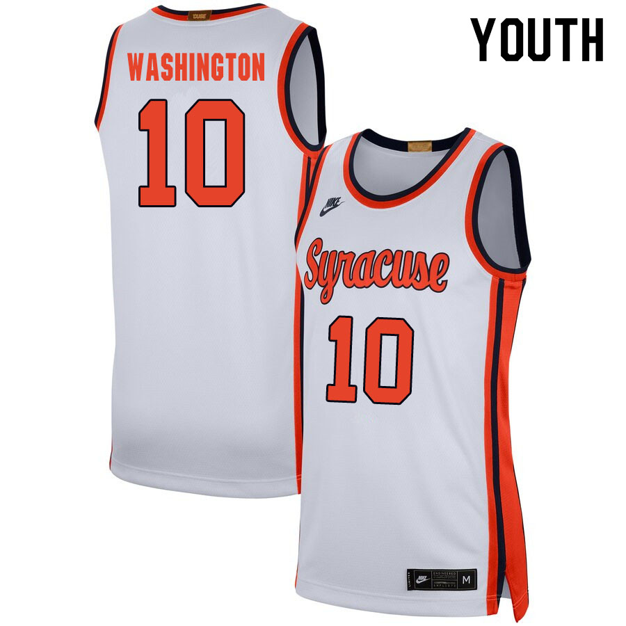2020 Youth #10 Howard Washington Syracuse Orange College Basketball Jerseys Sale-White