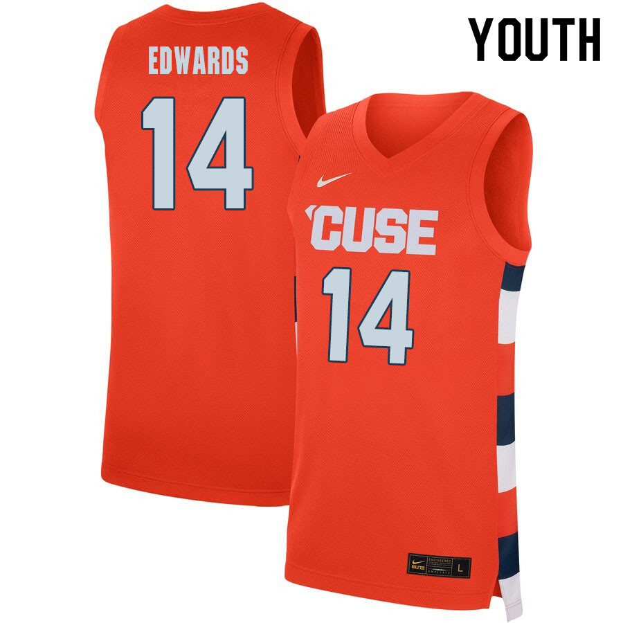 2020 Youth #14 Jesse Edwards Syracuse Orange College Basketball Jerseys Sale-Orange
