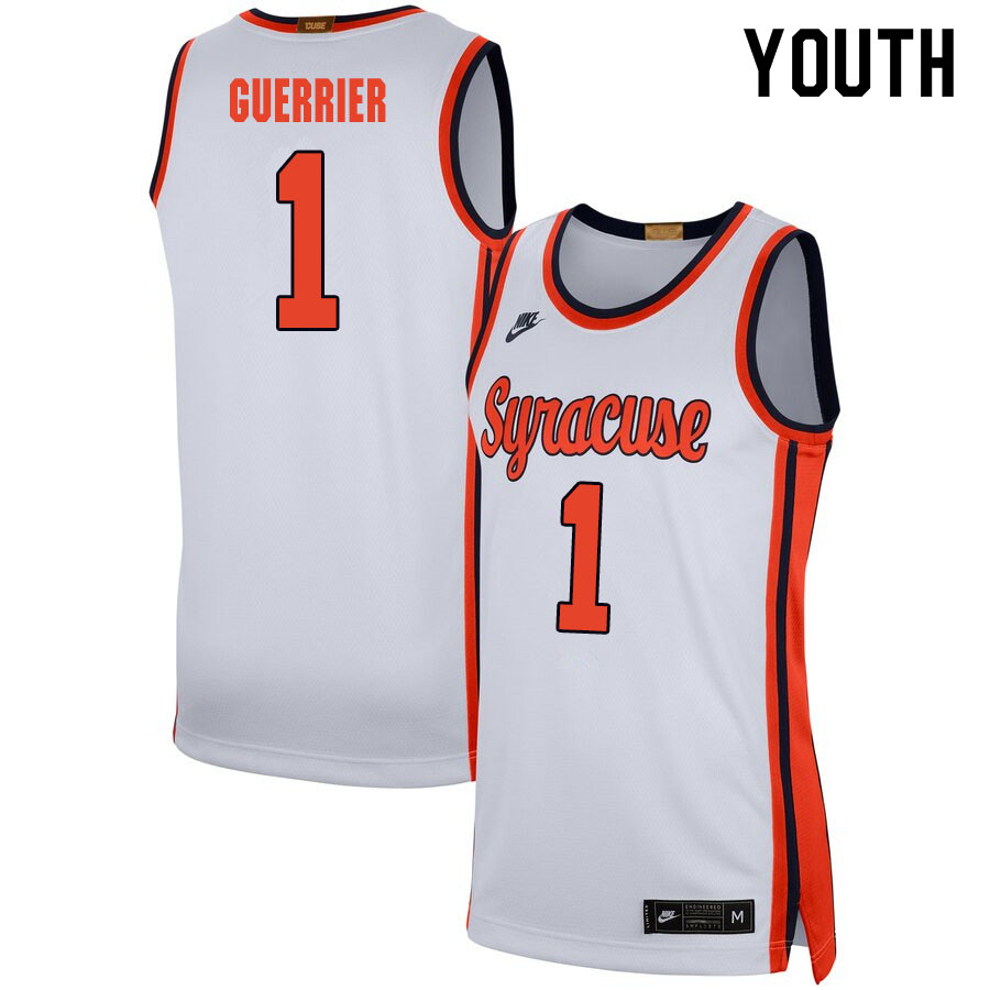 2020 Youth #1 Quincy Guerrier Syracuse Orange College Basketball Jerseys Sale-White