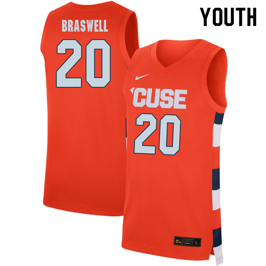 2020 Youth #20 Robert Braswell Syracuse Orange College Basketball Jerseys Sale-Orange