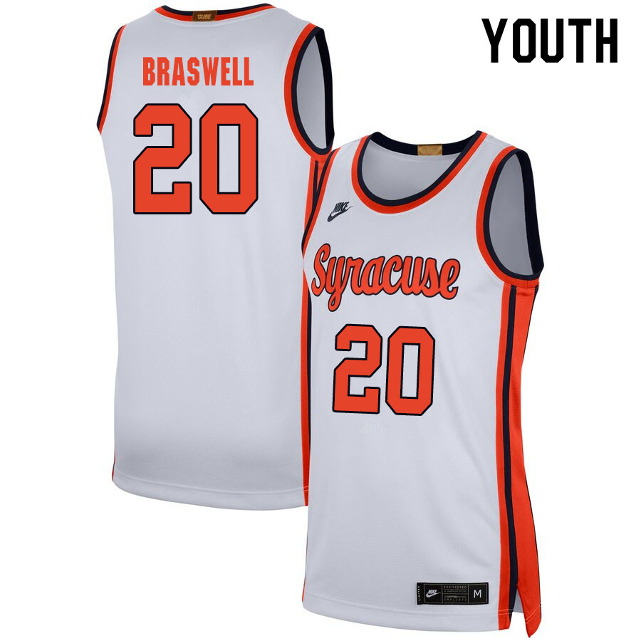2020 Youth #20 Robert Braswell Syracuse Orange College Basketball Jerseys Sale-White