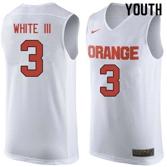 Youth #3 Andrew White III Syracuse White College Basketball Jerseys Sale-White
