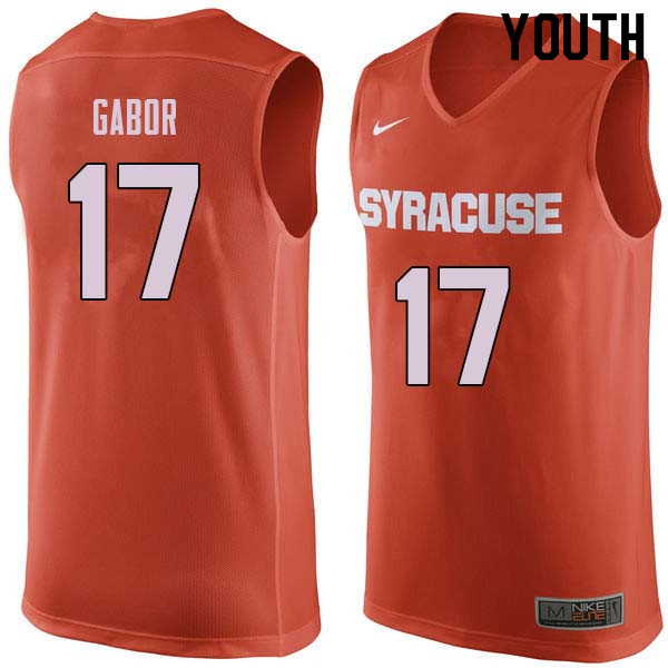 Youth #17 Billy Gabor Syracuse Orange College Basketball Jerseys Sale-Orange