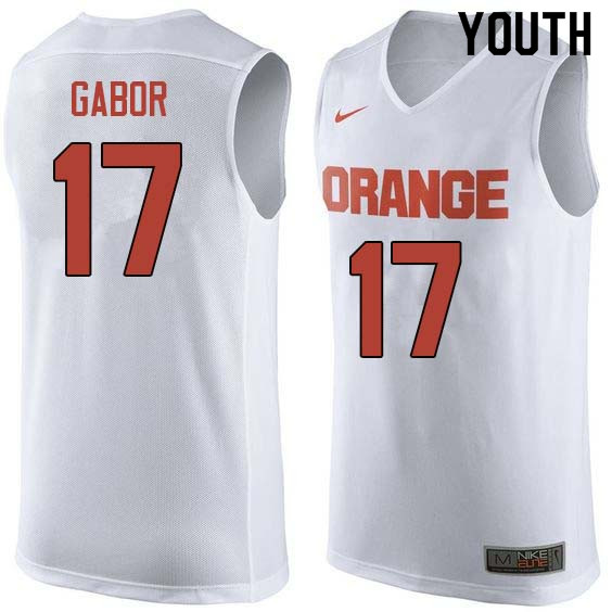 Youth #17 Billy Gabor Syracuse White College Basketball Jerseys Sale-White
