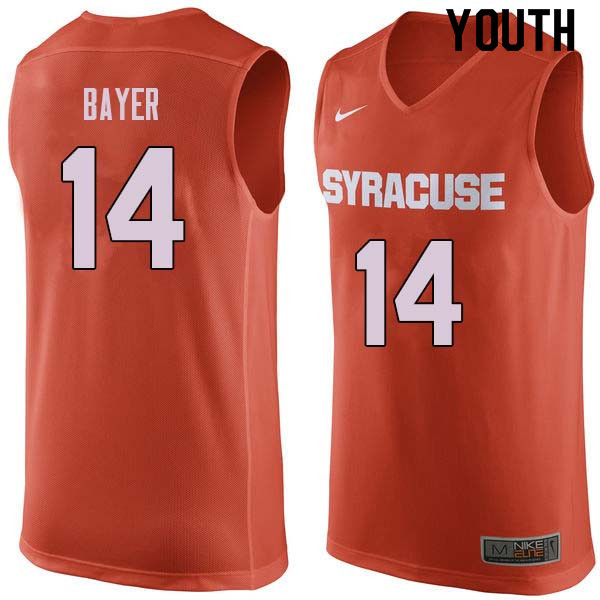 Youth #14 Braedon Bayer Syracuse Orange College Basketball Jerseys Sale-Orange
